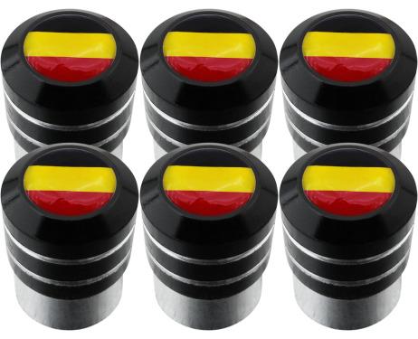 6 Belgium flag black valve caps