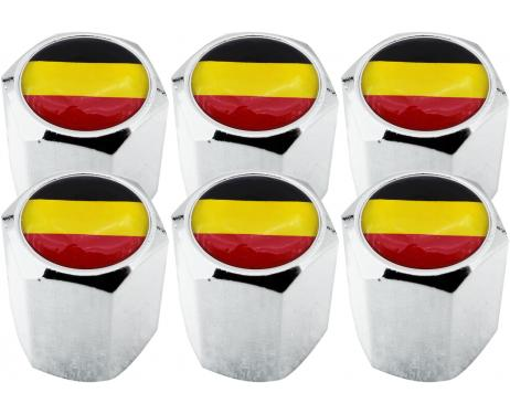 6 Belgium flag hex valve caps