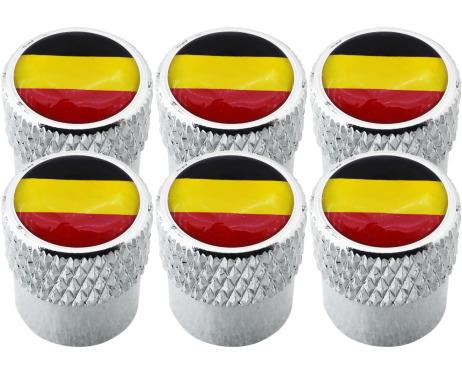 6 Belgium flag striated valve caps