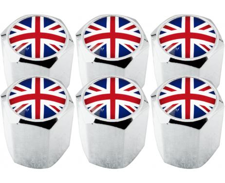 6 bouchons de valve Angleterre RoyaumeUni Anglais Union Jack British England hexa