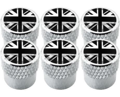 6 bouchons de valve Angleterre RoyaumeUni Anglais Union Jack British England noir  chrome strié