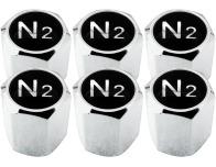 6 bouchons de valve Azote N2 noir  chrome hexa
