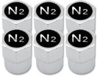 6 bouchons de valve Azote N2 noir  chrome plastique