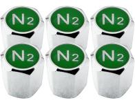 6 bouchons de valve Azote N2 vert hexa