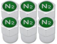 6 bouchons de valve Azote N2 vert plastique