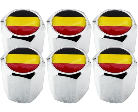 6 bouchons de valve drapeau Belgique Belge hexa