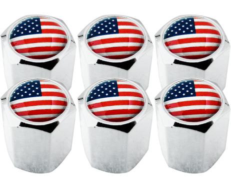 6 bouchons de valve EtatsUnis USA Amérique hexa