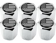 6 bouchons de valve EtatsUnis USA Amérique noir  chrome hexa