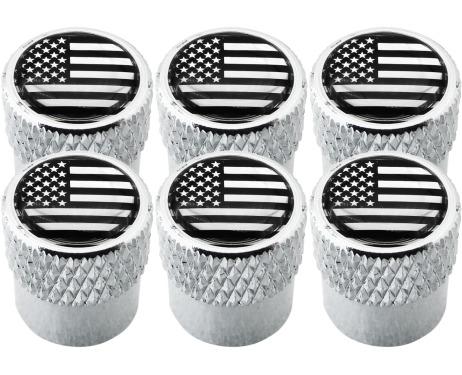 6 bouchons de valve EtatsUnis USA Amérique noir  chrome strié