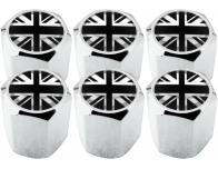 6 English UK England British Union Jack black  chrome hex valve caps