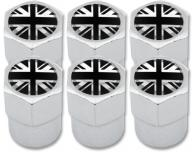 6 English UK England British Union Jack black  chrome plastic valve caps