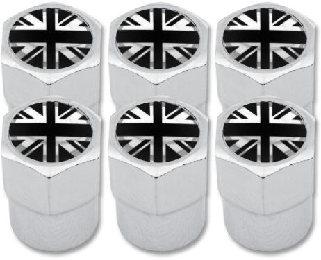 6 English UK England British Union Jack black  chrome plastic valve caps