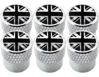 6 English UK England British Union Jack black  chrome striated valve caps