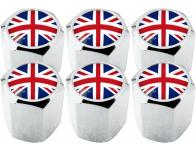 6 English UK England British Union Jack hex valve caps