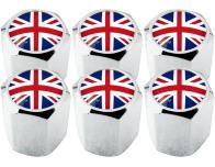 6 English UK England British Union Jack hex valve caps