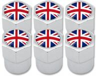 6 English UK England British Union Jack plastic valve caps