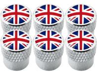 6 English UK England British Union Jack striated valve caps