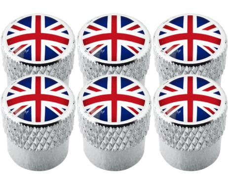 6 English UK England British Union Jack striated valve caps