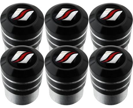 6 Luxyline black valve caps