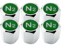 6 Nitrogen N2 green hex valve caps