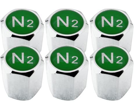 6 Nitrogen N2 green hex valve caps