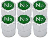 6 Nitrogen N2 green plastic valve caps
