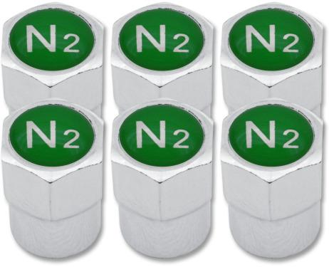 6 Nitrogen N2 green plastic valve caps