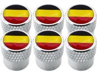 6 tapones de valvula bandera Belgica Belga estriado