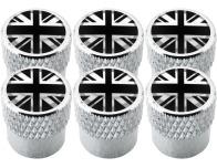 6 tapones de valvula Inglaterra Reino Unido Ingles Gran Bretana Jack negro  cromo estriado