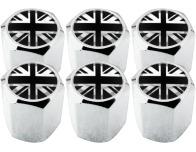 6 tapones de valvula Inglaterra Reino Unido Ingles Gran Bretana Jack negro  cromo hexa