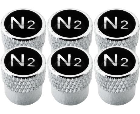 6 tapones de valvula Nitrogeno N2 negro  cromo estriado