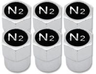 6 tapones de valvula Nitrogeno N2 negro  cromo plastico