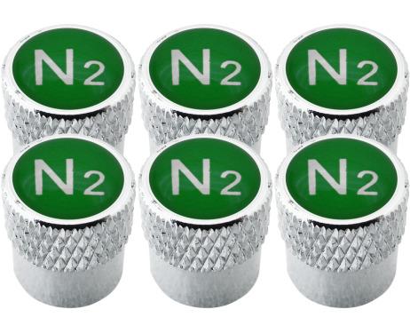 6 tapones de valvula Nitrogeno N2 verde estriado