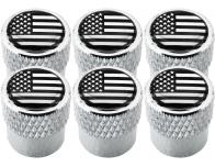 6 tapones de valvula USA Estados Unidos America negro  cromo estriado