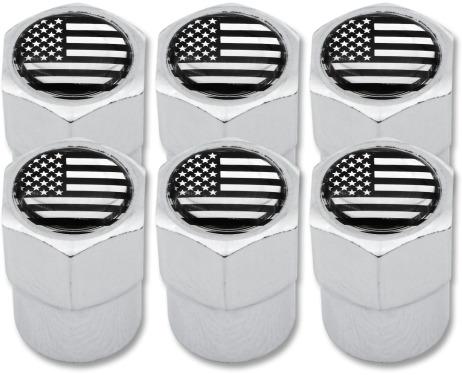 6 tapones de valvula USA Estados Unidos America negro  cromo plastico