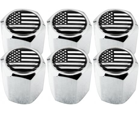 6 USA United States of America black  chrome hex valve caps
