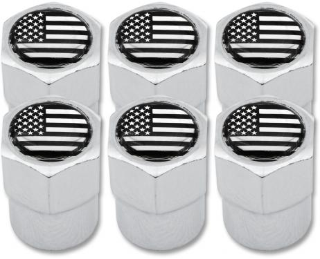 6 USA United States of America black  chrome plastic valve caps