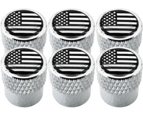 6 USA United States of America black  chrome striated valve caps