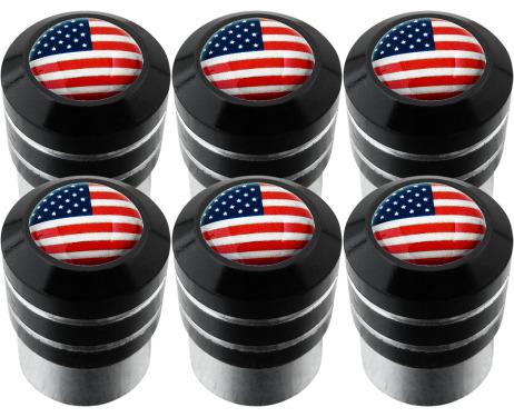 6 USA United States of America black valve caps