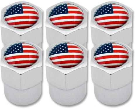 6 USA United States of America plastic valve caps