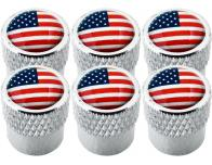6 USA United States of America striated valve caps