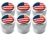 6 USA United States of America striated valve caps