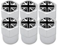 6 Ventilkappen England Englisch British Union Jack schwarzchromfarbig Plastik