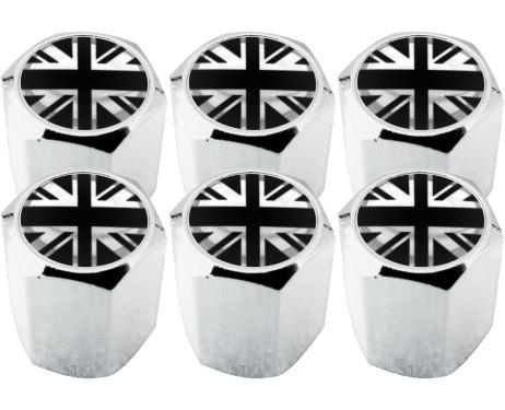 6 Ventilkappen England Vereinigtes Königreich Englisch British Union Jack schwarz  chromfarbig Hex