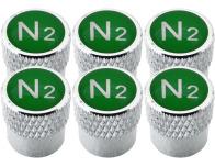 6 Ventilkappen Stickstoff N2 grün gestreift
