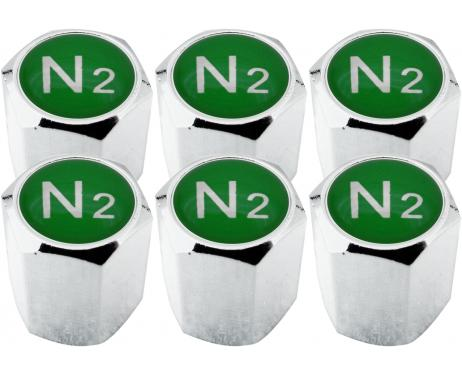 6 Ventilkappen Stickstoff N2 grün Hexa