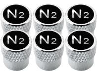 6 Ventilkappen Stickstoff N2 schwarz  chromfarbig gestreift