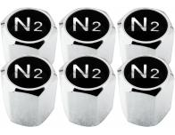 6 Ventilkappen Stickstoff N2 schwarz  chromfarbig Hexa