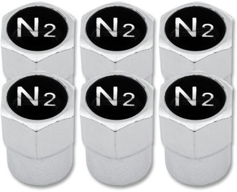 6 Ventilkappen Stickstoff N2 schwarz  chromfarbig Plastik