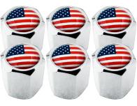 6 Ventilkappen USA Vereingite Staaten Amerika Hexa
